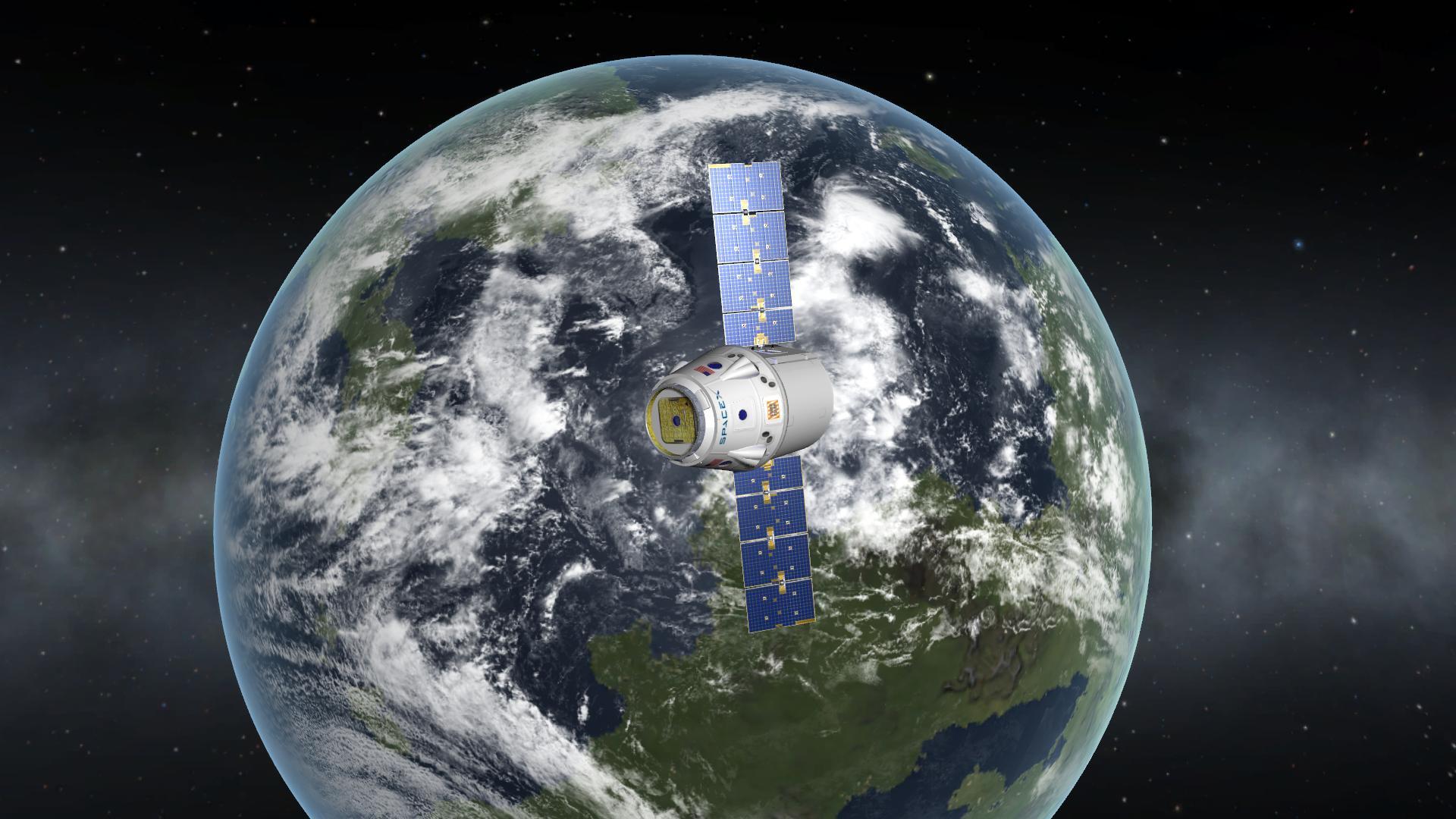 La capsule dragon en orbite autour de Kerbin.