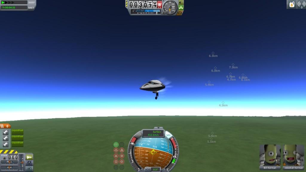 Votre testeur qui s'écrase pour la première fois dans l'atmosphère de kerbin...