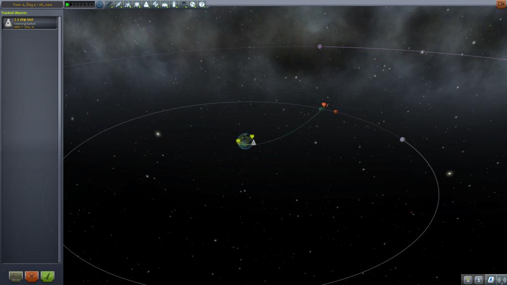 On peut ici voir la nouvelle interface de la Tracking Station et les nouvelles orbites.