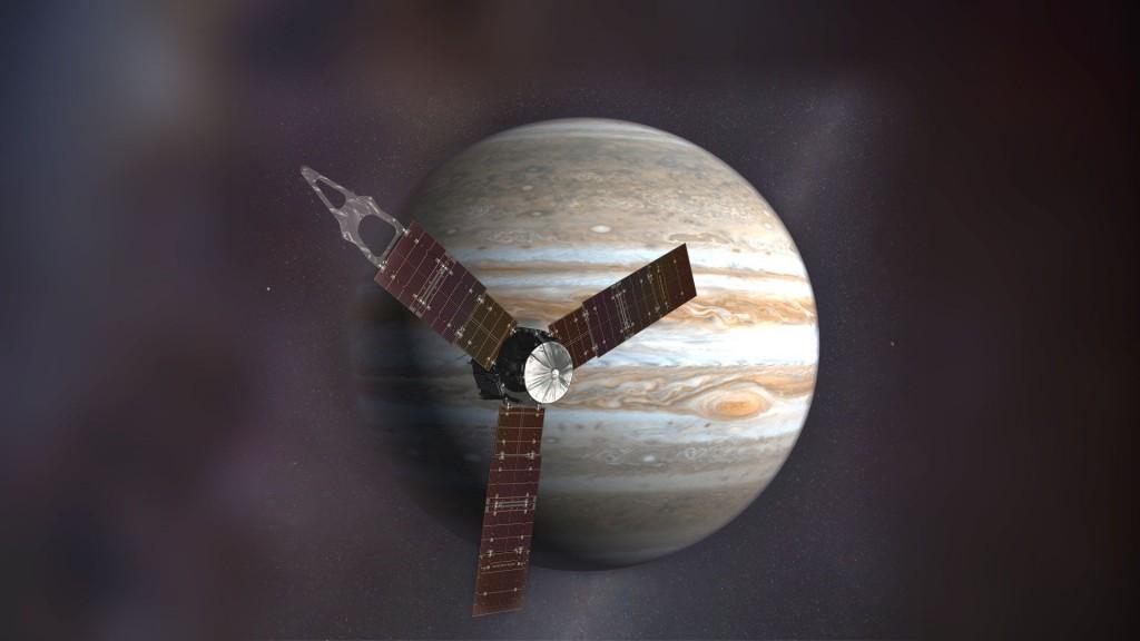 Vue d'artiste de la sonde en orbite jovienne.