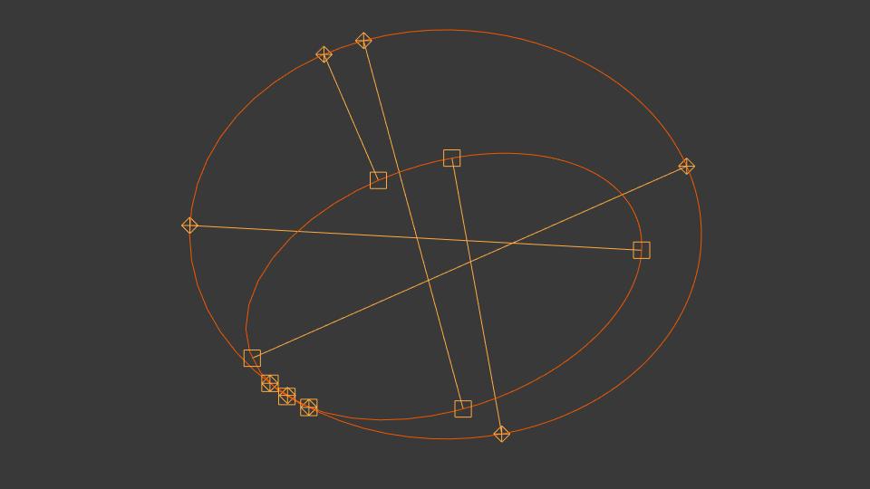 Les interceptions entre un vaisseau situé en orbite relativement haute de Eve et Gilly.