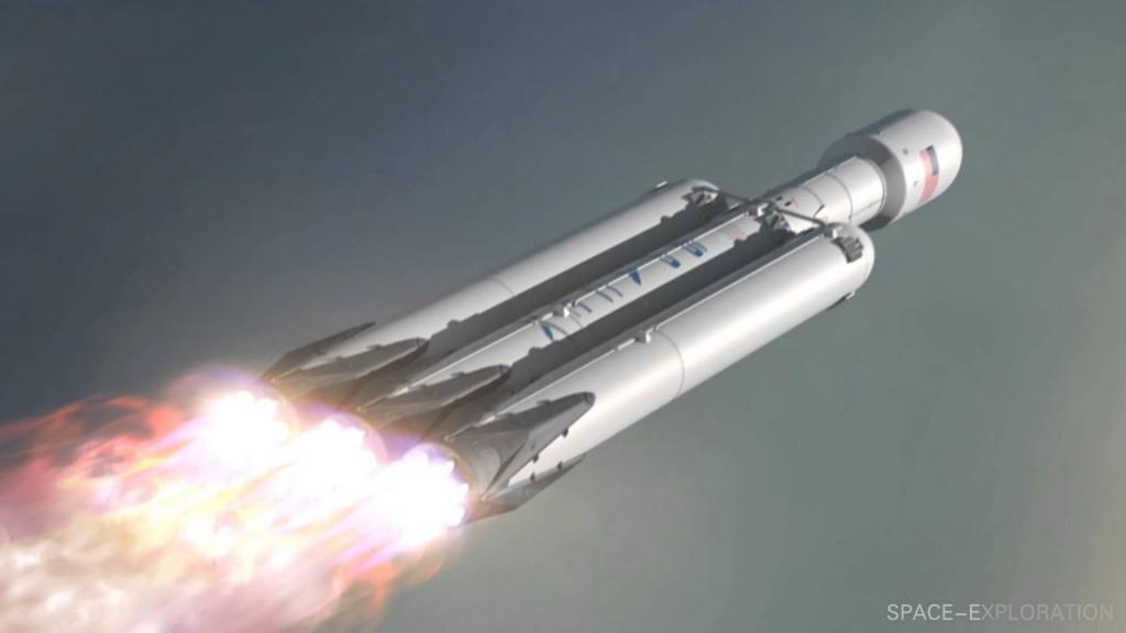 Vue d'artiste du décollage de Falcon Heavy.