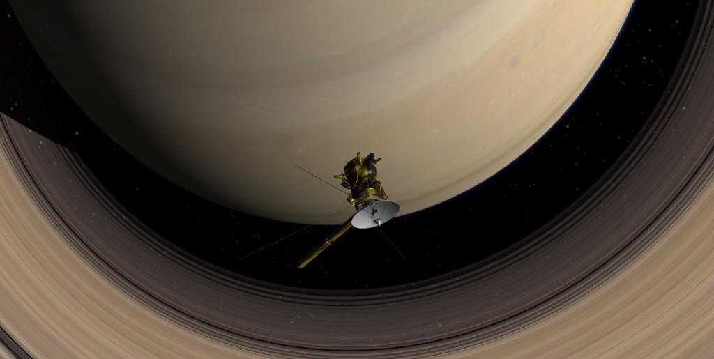 Image de synthèse de Cassini en orbite saturnienne.
