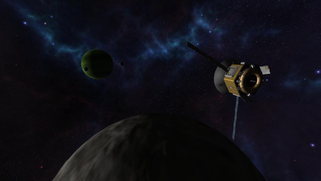 Scène avec quelques mods graphique où l'on voit une lune et Jool au fond.